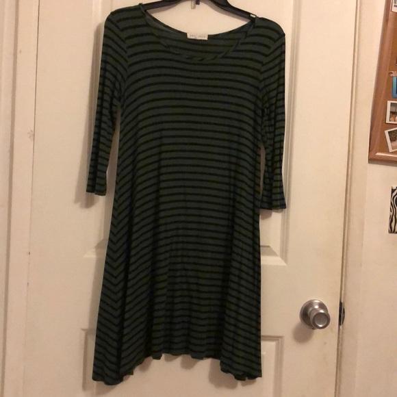Socialite Dresses & Skirts - Green and black striped t-shirt dress 🌟